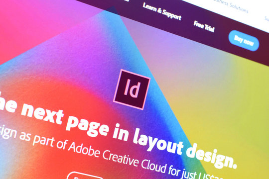 Web page of adobe indesign product on official website on the display of PC