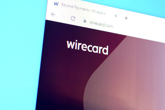 Homepage of wirecard website on the display of PC, url - wirecard.com.