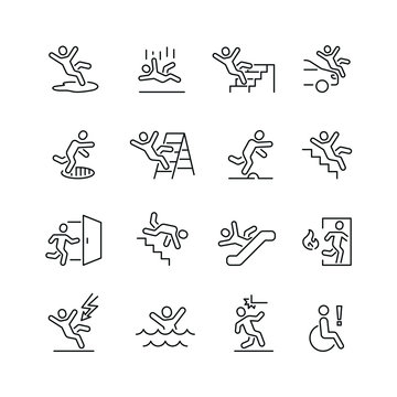 Stick figure man related icons: thin vector icon set, black and white kit