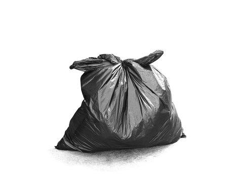 Black garbage bag isolated on white background.