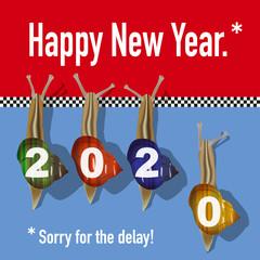 Carte de vœux 2020 originale et drôle, avec une course d'escargots symbolisant les retardataires ou ceux qui ont oublié de souhaiter leurs meilleurs vœux pour la nouvelle année.