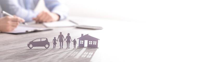 Fototapeta Insurance protecting family health live, house and car concept. obraz