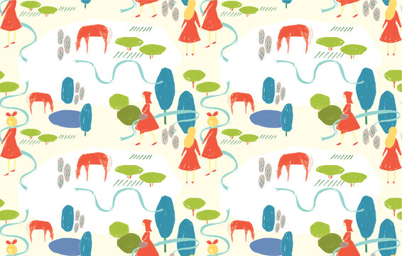 seamless pattern with colorful nature
