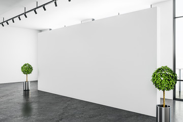Modern white gallery interior