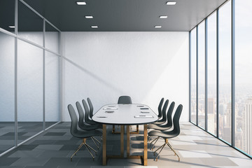 Modern conference interior with office accessories