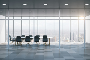 Meeting room interior with city view