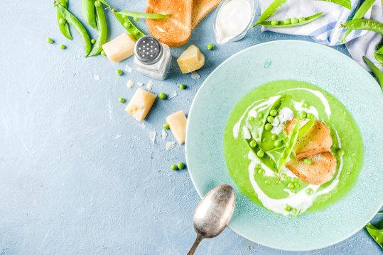 Homemade green pea  cream soup