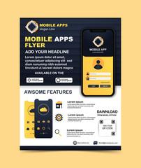 Mobile app flyer template Vector template
