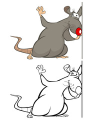Fotobehang Babykamer Vector Illustration of a Cute Cartoon Character Rat for you Design and Computer Game. Coloring Book Outline Set