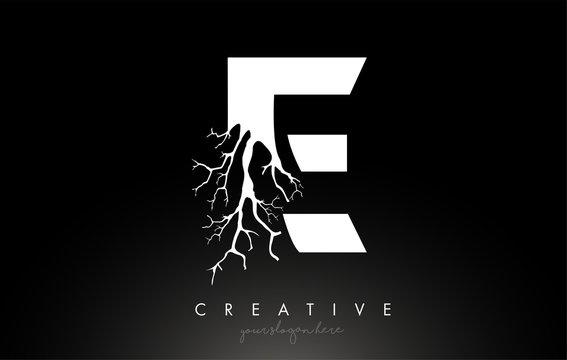 Letter E Design Logo with Creative Tree Branch. E Letter Tree Icon Logo