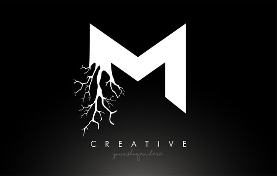 Letter M Design Logo with Creative Tree Branch. M Letter Tree Icon Logo