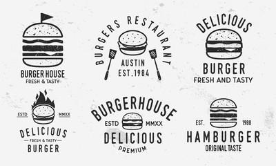 Vector Burger logo set. Vintage burger,  sandwich or hamburger labels, badges. Fast food and restaurant logo templates with grunge texture.