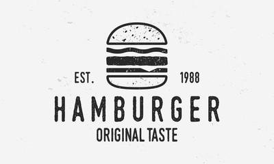 Fototapeta Hamburger vector logo template. Vintage burger cafe logo with grunge texture. Trendy vintage design. obraz