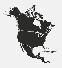 Wall Mural - North America map with regions. USA, Canada, Mexico maps. Outline North America map isolated on white background. Vector illustration