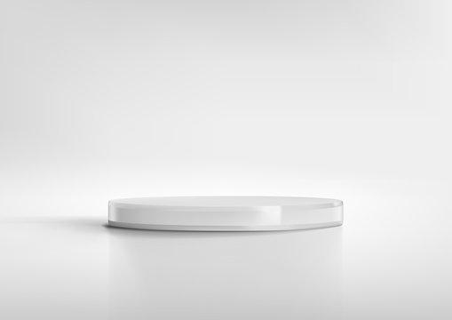 3D White Round Podium Product Studio Show