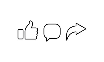 Like Comment Share icon design . Vector illustration.