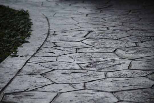 Grey printed concrete terrace floor