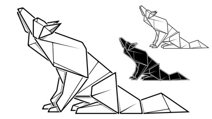 Image of paper wolf origami (contour drawing).