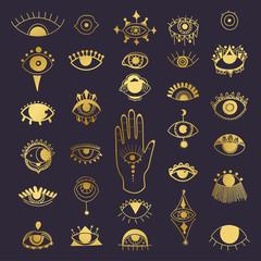 Golden evil eyes symbol set. Different shapes. Esoteric sign alchemy, decorative style, providence sight. Vector illustration.
