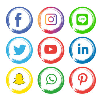 Social Media flat icons technology, network, computer concept. background  group star smiley face sale. Share, Like, Vector illustration Twitter, YouTube, WhatsApp, Snapchat, Facebook, instagram
