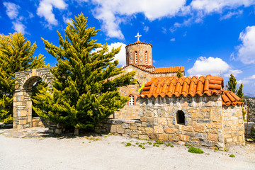 Traditional orthodox church in mountain village. Crete island. Greece