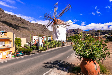 Traditional old windmills of Canary islands. Grand Canary (Gran Canaria) Mogan village