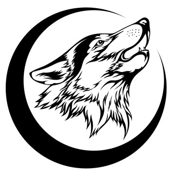 Image of a wolf howling at the moon. It can be used to design a logo, print on a T-shirt, tattoo, and more.