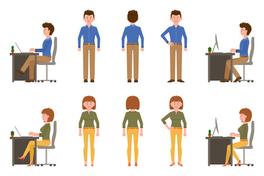 Happy, friendly office worker man and woman vector illustration. Front, side, back view standing, sitting at desk, typing on laptop, smiling boy and girl cartoon character set on white