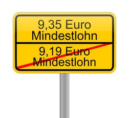 9,35 Euro minimum wage - in german - illustration
