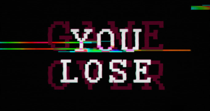 Modern glitch transition with you lose and game over text