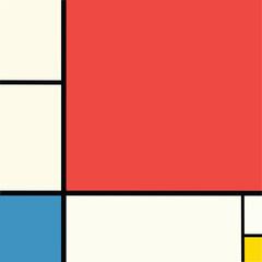 Abstract geometric colorful Mondrian style pattern. Vector illustration. Mosaic Piet Mondrian