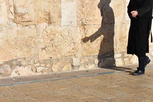 Shadows on the walls of Jerusalem at sunset