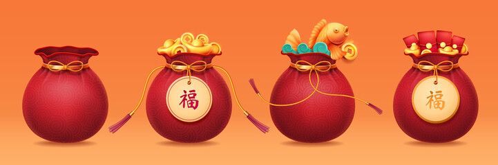 Bag with ribbon or sack with tassels, pouch with golden ingot, packet with money or hangbao, sac with chinese hieroglyph that means Good Luck or Fortune. 2020 CNY or china new year holiday Fotomurales