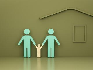 Fototapeta rodzina i dom na zielonym tle z cieniem i refleksami nowy kreatywny pomysł obraz