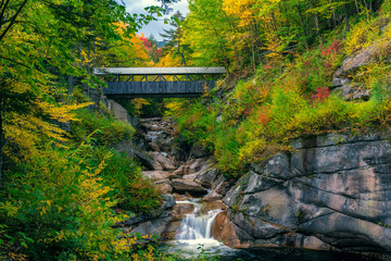 Sentinel Pine Covered Bridge, near Lincoln, New Hampshire, in Autumn. Fotomurales
