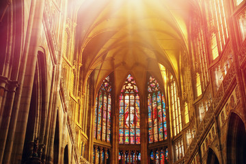 Inside view of Prague cathedral Fotomurales