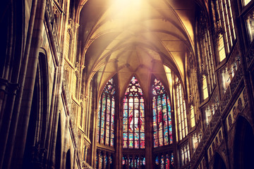 Inside view of Prague cathedral Fototapete