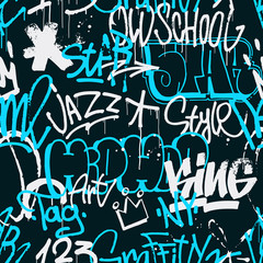 Vector graffiti seamless pattern in blue and white color isolated on dark background. Abstract graffiti tags and throw up pieces background. Use for poster, t-shirt design, textile, wrapping paper.