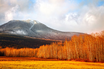 Golden fall sunset with fresh snow near Smithers, British Columbia, Canada. Wall mural