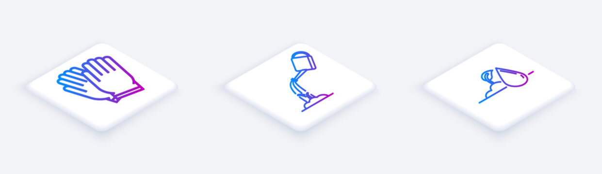 Set Isometric line Garden gloves, Watering can with water and Watering sprout. White square button. Vector
