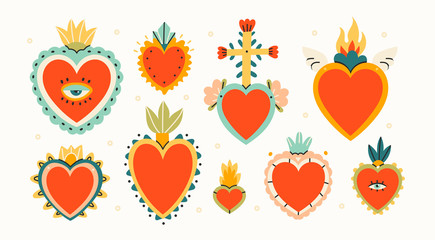Various Sacred hearts. Set of Traditional Mexican hearts. Hand drawn colored trendy vector illustration. All elements are isolated Fototapete