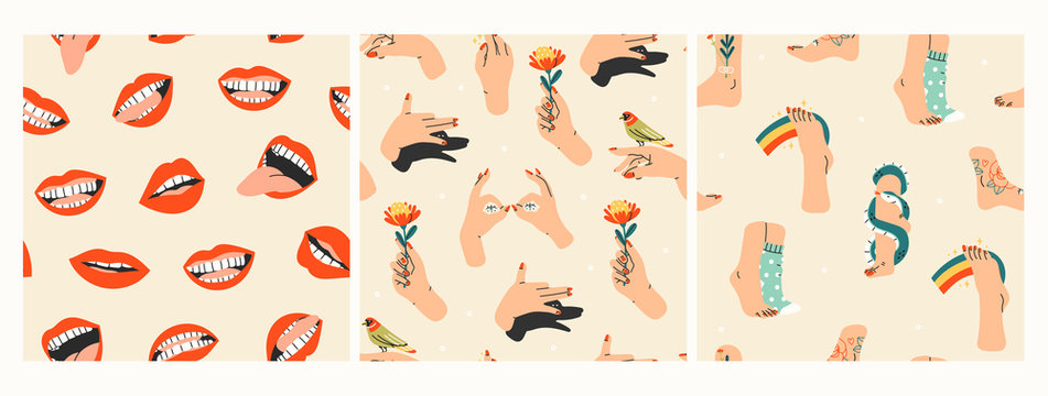 Human body parts. Hand with flower, Shadow puppet barking dog, red lips mouth, smile, legs in wool socks, snake. Set of three Hand drawn colored trendy vector seamless patterns. Wallpapers