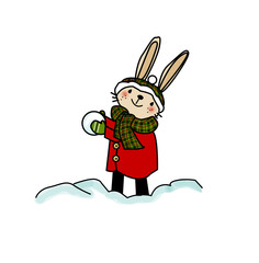 Illustrazione per bambini, coniglietto con palla di neve , cappotto e sciarpa, isolato su sfondo bianco