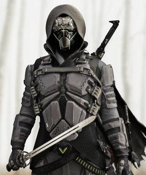 Armored Futuristic hooded sci fi samurai . 3d rendering