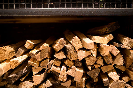 Kindling ready to place into a fire
