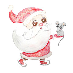 Santa Claus in a red suit and a developing beard rides ice skates and holds a mouse in his hand, a symbol of 2020. Multi colored pencils hand drawn illustration