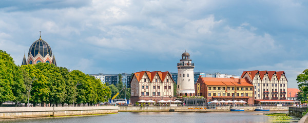 Panoramic beautiful view of Kaliningrad in Russia for tourists.