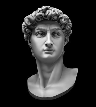 3D rendering of Michelangelo's David bust isolated on black. High quality detailed monochrome illustration.