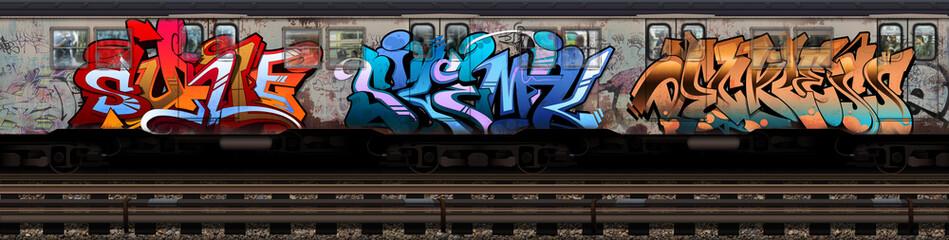 Foto auf Acrylglas Graffiti Graffiti Subway Car 2