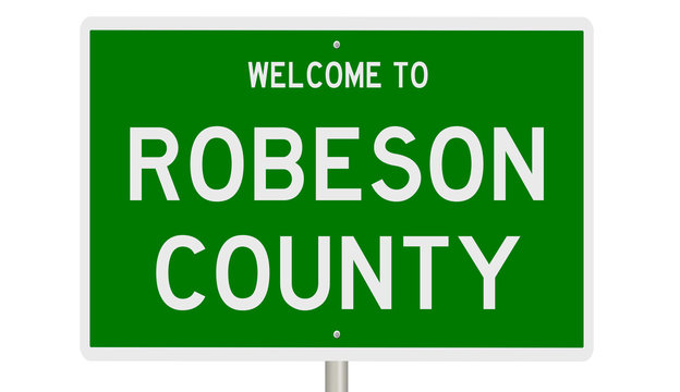 Rendering of a green 3d highway sign for Robeson County